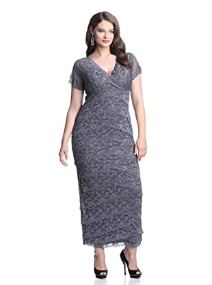 Marina Plus Women's Tiered Lace Gown (Gun)
