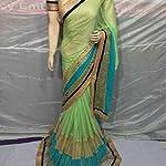 Green lycra Saree With blouse piece