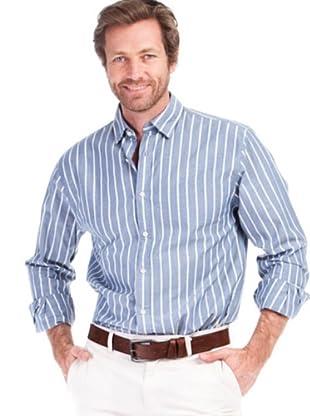 Cortefiel Camisa Chambray (azul / blanco)