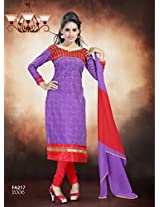 Fabfirki-The New Designer Attractive Blue And Lavender Salwar Suit