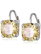 "CZ by Kenneth Jay Lane ""Classic"" Cushion Cubic Zirconia Single Stone Yellow Leverback Drop Earrings"
