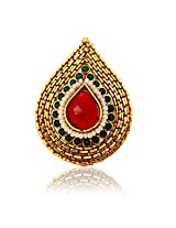 RATNAKAR GOLDEN RING WITH RED STONE FOR WOMEN