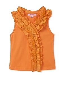 Beetlejuice London Girl's Buttercream Fashion Tank with Ruffles (Orange)