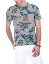 Zobello Men's Holiday Inspired Printed Crew Tee (21062A_Aloha Heather Green Print_XX-Large)
