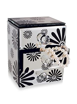 Allure Flower Jewelry Box with 2-Drawers and Open Top, Black