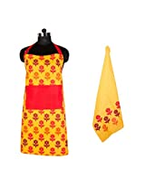PO BOX 100% Cotton 1 Apron & Kitchen Towel Set Flower Story Yellow