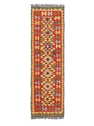 Hand-Woven Kashkoli Kilim, Light Gold/Red, 2' x 6' 6