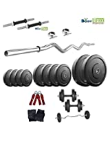 32 Kg Body Maxx Home Gym Set Rubber Plates + Dumbells rods + Gloves + Gripper + 3 FT EZ CURL BAR + Locks