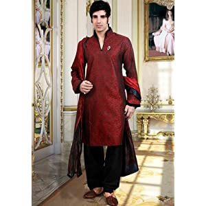 Maroon Jacqaurd Readymade Indo western Suit