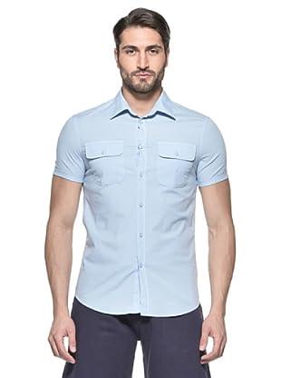 Nautica Camisa Solid Manga Corta (Azul Medio cielo)