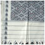 Grey Mercerized Cotton Ikat Dupatta -