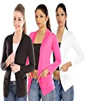Teemoods Set Of Three Black Pink White Full Sleeves Shrugs