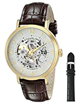 Stuhrling Original Men's 647.02SET Legacy Automatic Skeleton Gold Watch with Additional Strap