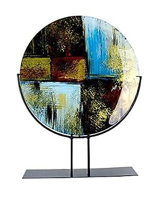 Jasmine Art Glass Round Platter with Stand, Blue/White/Black/Gold