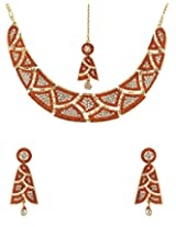 Voylla Orange-White Gleaming Stones Decked Maang Tika Set