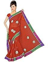 Kala Sanskruti Chiffon And Art Silk Bandhej Design Saree With Work [KSA3XI-31_Rust]