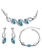 Eterno Blue crystal Pendant Set For Women