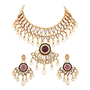 Kundan Necklace Set Embellished With Purple And Green Color Stones In Round Shape