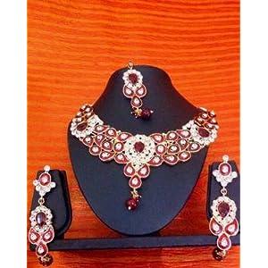 Necklace sets - Ethnic Indian Women Jewelry Bridal Maroon Antique Stone Necklace Set hi10b