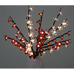 Red & White Crystal Flowers Branch Lights