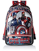 Captain America Polyester 18 Inch Red and Black Children's Backpack (MBE-WDP0501)