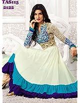 Kriti Senon Designer White Anarkali Suit