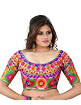 Kuvarba Fashion Multi Color Fabric Silk Embroidered Readymade Designer Blouse