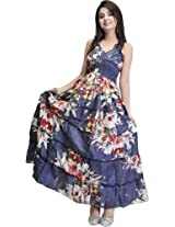 Midnight-Blue Barbie Dress with Printed Flowers - Pure Cotton [Apparel]