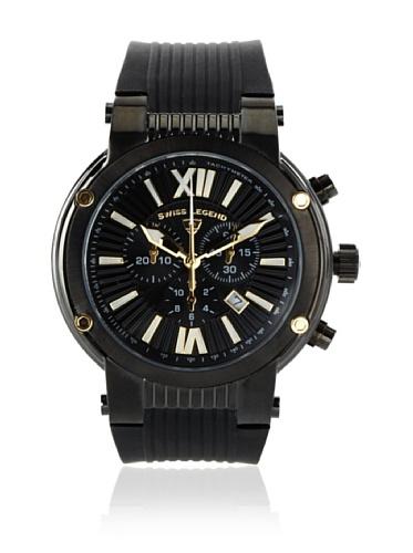 Swiss Legend Men's Legato Cirque Black/Black Textured Silicone Watch