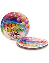 Karmallys Printed Paper Plates Happy Birthday Balloons And Gift Box Print - 22 cm