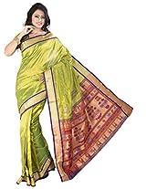 ISHIN Art Silk Green Kanjivaram Saree