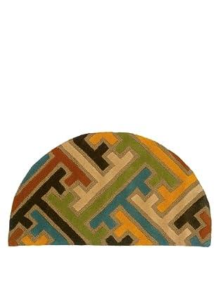 Trade-Am Vibrance Geometric Half-Moon Rug, Beige, 22