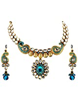 Vivanta Blue Gold Plated Necklace And Earrings Set For Women (VD-N115)