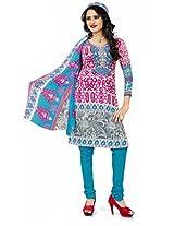 Khushali Presents Georgette Chudidar Dress Material(Pink,Grey,Sky Blue)