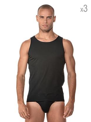 Anyma by Cotonella Pack 3 Camisetas Tirantes Algodón (Negro)
