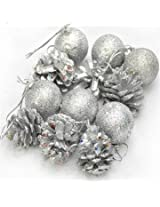 12pcs 4cm Christmas Xmas Tree Hanging Balls Pine Cones Decoration (Silver)