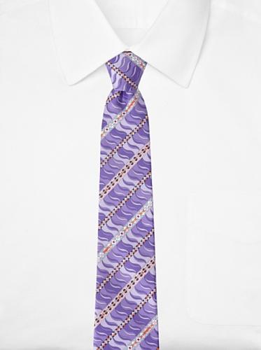 Emilio Pucci Men's Geometric Wave Tie, Lavender