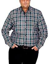 Xmex Men's Cotton Regular Fit Shirt (KR-ECOCHECKS-BOTTGRN-3XL)