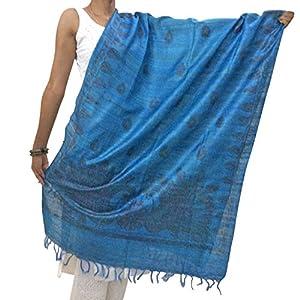 Chanchal Hand Painted Madhubani Blue Tassar Ghicha Dupatta
