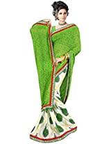 Shree Bahuchar Creation Women's Chiffon Saree(Skb24, Green and White)