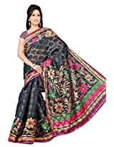 Khushali Women's Printed Multi Color Bhagalpuri Brasoo Saree With Unstitched Blouse Piece (Black)