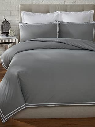 Mason Street Textiles Cross Band Duvet Set (Grey/White)