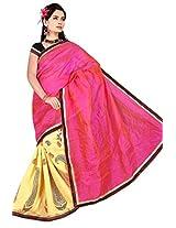 Astha Fashion Chiffon Embroidered Saree (Pink Yellow)-astha532AF