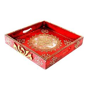 Jodhpuri's Red Hand Painted Square Tray