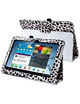 eForCity Leather Case with Stand for 10.1-Inch Samsung Galaxy Tab 2, White/Purple Leopard (PSAMGLXTLC38)