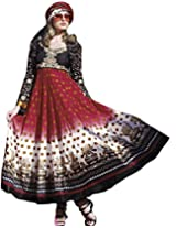 Exotic India Women's Cotton Anarkali Suit Set (Skj86-Xs-Black-And-Red _Black And Red _X-Small)