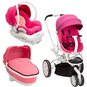 Quinny Moodd Stroller Travel System Pink Passion/White with Bassinet