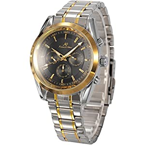 KS Black Analog Date Day Automatic Mechanical Steel Mens Watch + Gift Box KS061