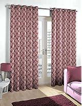 Skipper Polyester Eyelet Floral Door Curtain - 7ft, Pink