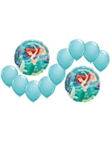 Disney The Little Mermaid Ariel Princess Mylar And Latex Balloons Bouquet (11 Pcs)